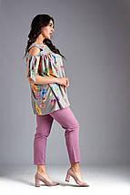"""Летний женский брючный костюм """"Фрезия"""" с блузой в цветочек (большие размеры), фото 3"""