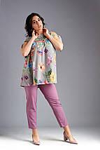 """Летний женский брючный костюм """"Фрезия"""" с блузой в цветочек (большие размеры), фото 2"""