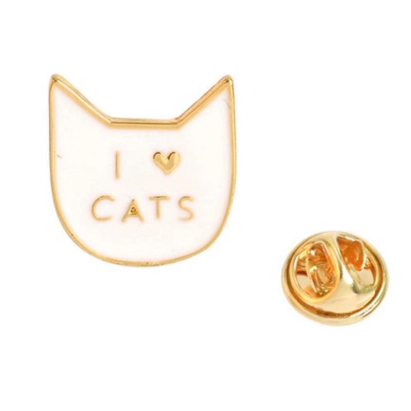 Значок металл Пин Кот I love cats белый(Размер М - 2 х 1,5)