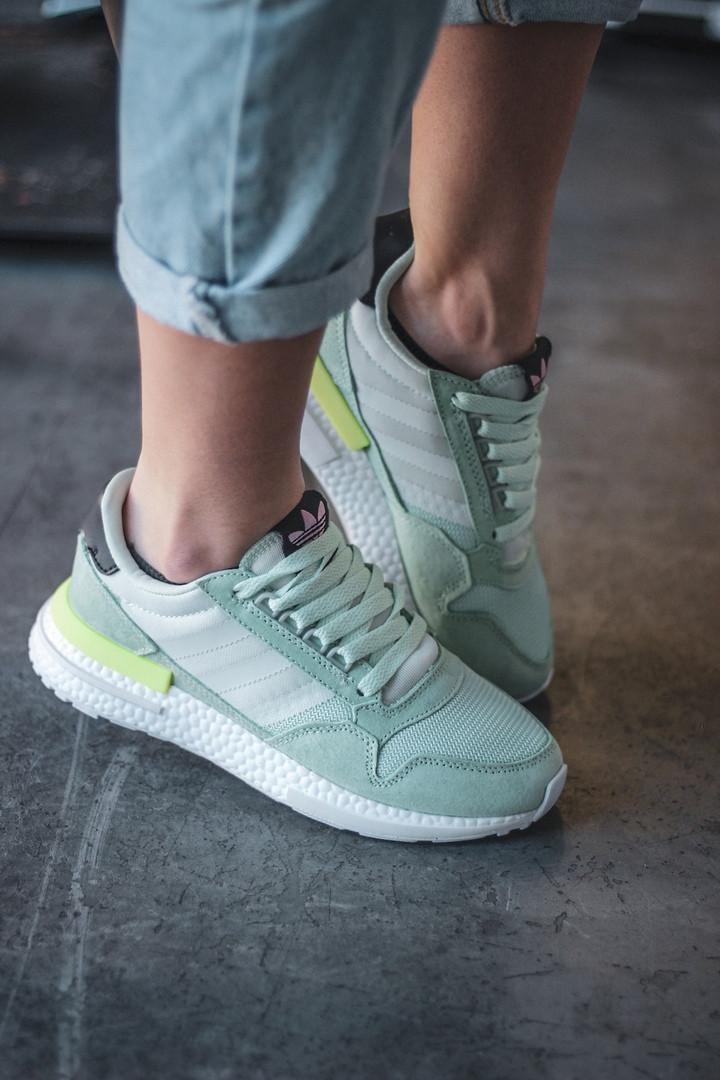 Жіночі кросівки Adidas ZX500 Mint Green, Репліка