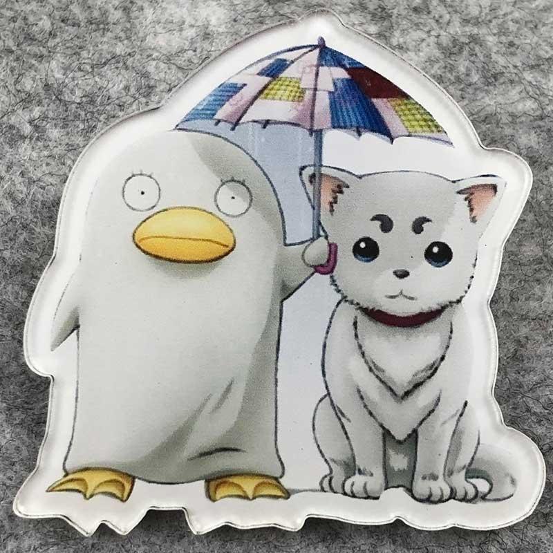 Значок пластик Пин  Кот и Пингвин под зонтом
