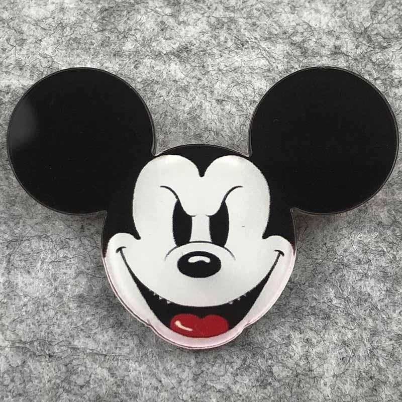 Значок пластик Пин Мики Маус злое лицо