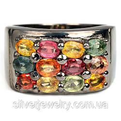 Серебряное кольцо с САПФИРОМ MIX (натуральный) серебро 925 пр. Размер 16,75