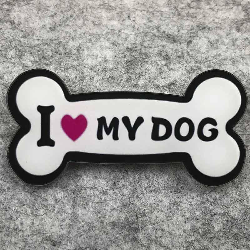 Значок пластик Пин Собаки Косточка I love my dog