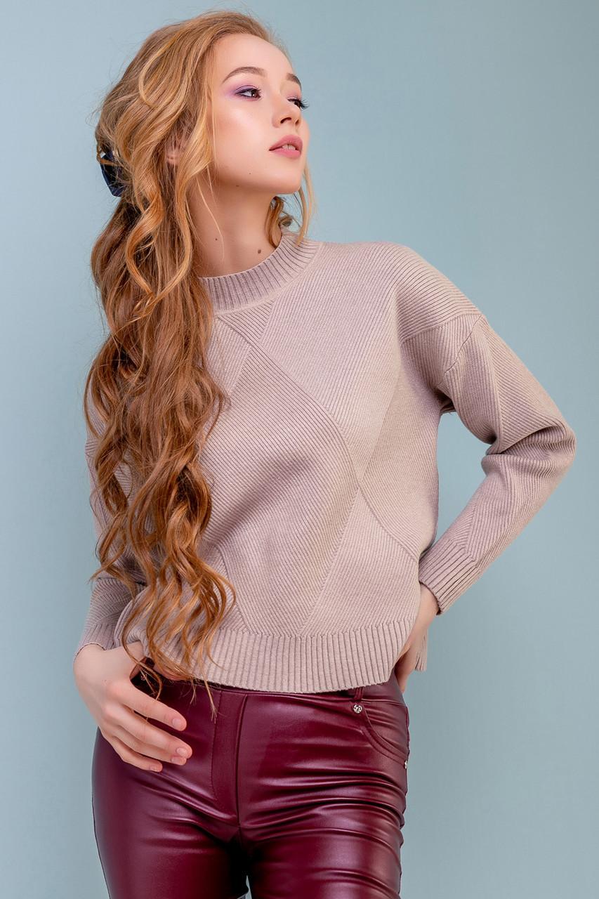 Жіночий вільний светр з візерунком ромб, р. 42-50 кавовий, широкий, повсякденний, молодіжний, джемпер