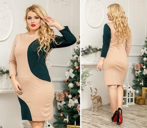 """Облегающее трикотажное платье """"BUENO"""" с контрастными вставками (большие размеры), фото 2"""