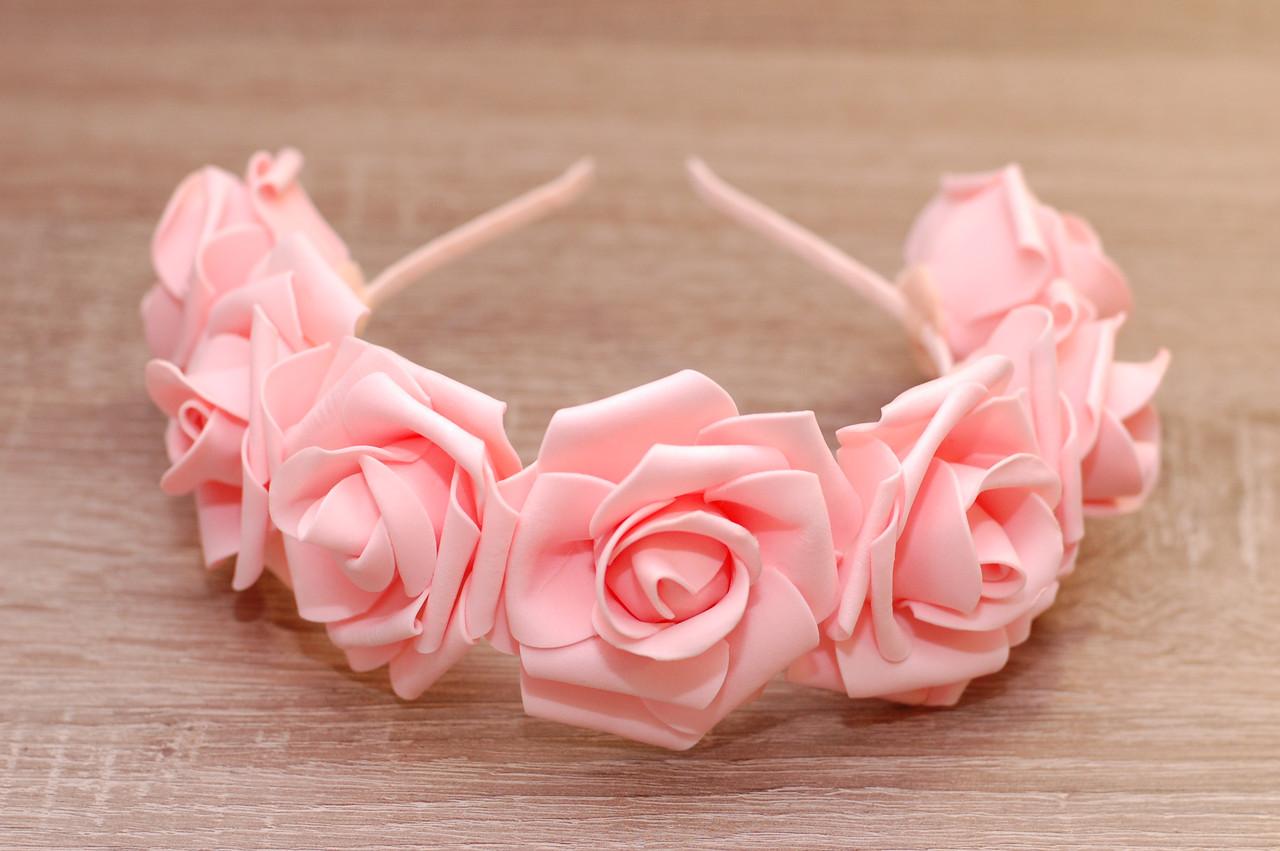 Ободок Персиковые розы