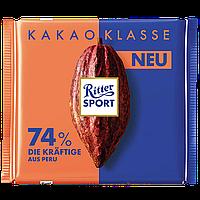 Шоколад Ritter Sport темный 74% какао с насыщенным вкусом из Перу 100г (1уп/12шт)