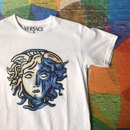 Белая футболка Versace Impressionism • Все размеры, Бирки, фото 2