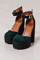Туфли босоножки женские удобные на толстом каблуке и грубой подошве натуральный замш изумрудного цвета