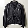 Кожаная мужская куртка на манжетах.Короткая куртка из натуральной кожи.( 11348)