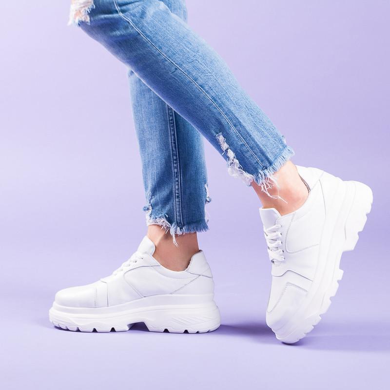 Женские белые кроссовки из натуральной кожи на модной подошве. Размер 36-40. Цвет на выбор