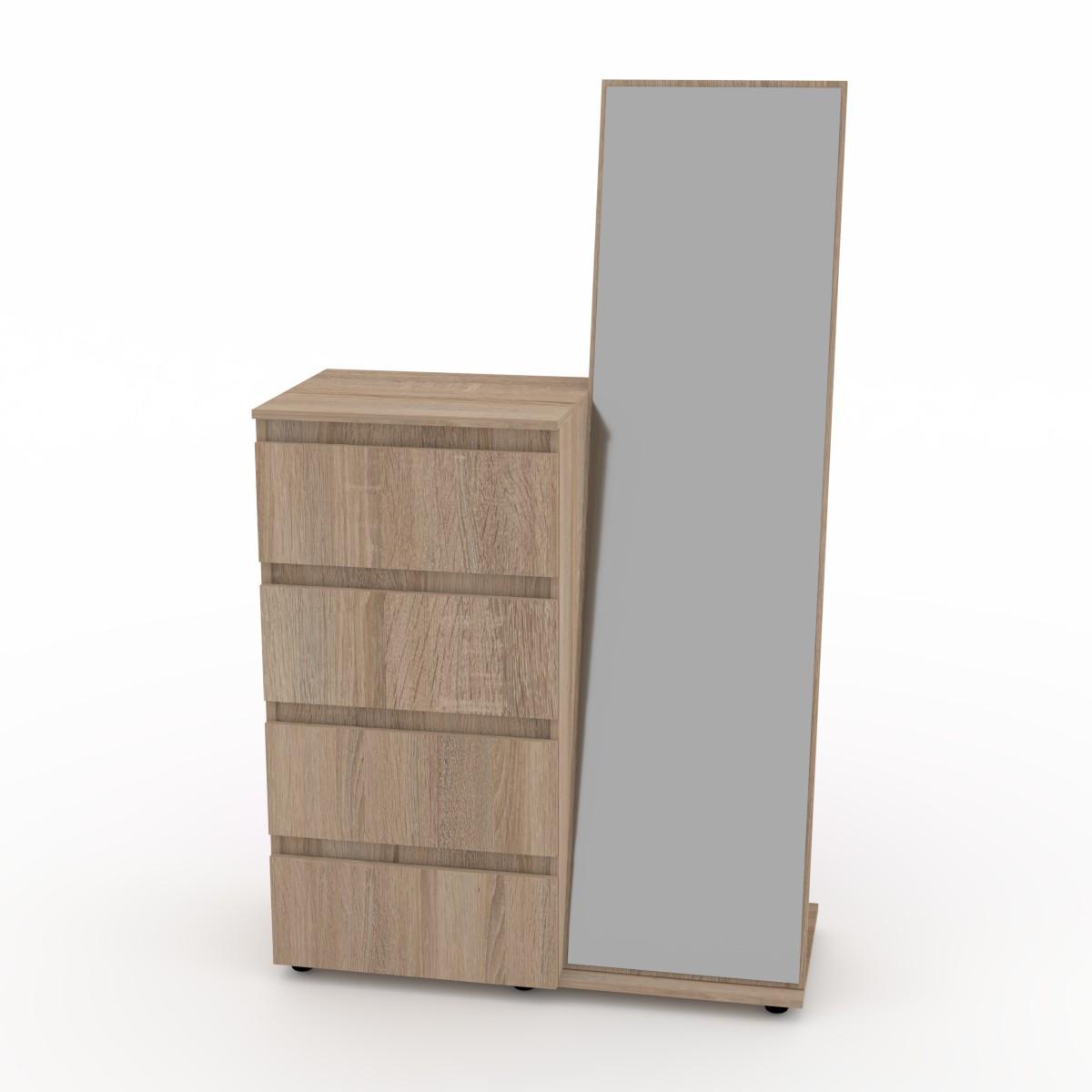 Комод с зеркалом дуб сонома Компанит (100х45х166 см)