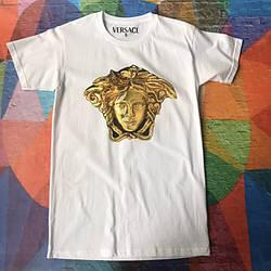 Белая футболка Versace Golden Logo • Бирки ориг • Качество топ