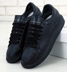 Мужские кроссовки Adidas Alexander McQueen Oversized Leather Black. Живое фото (Реплика ААА+)