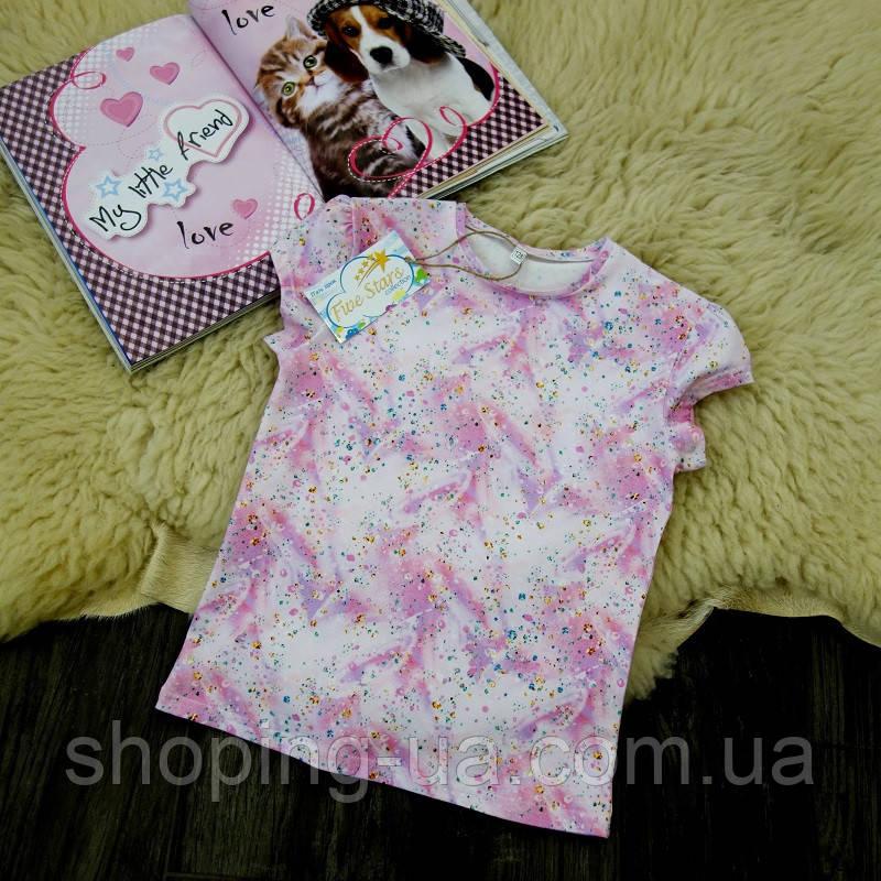 Детская футболка с алмазами розовая Five Stars KD0205-128p
