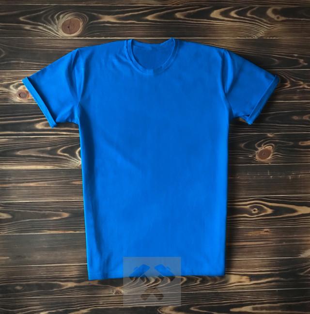 Голубая мужская футболка фото