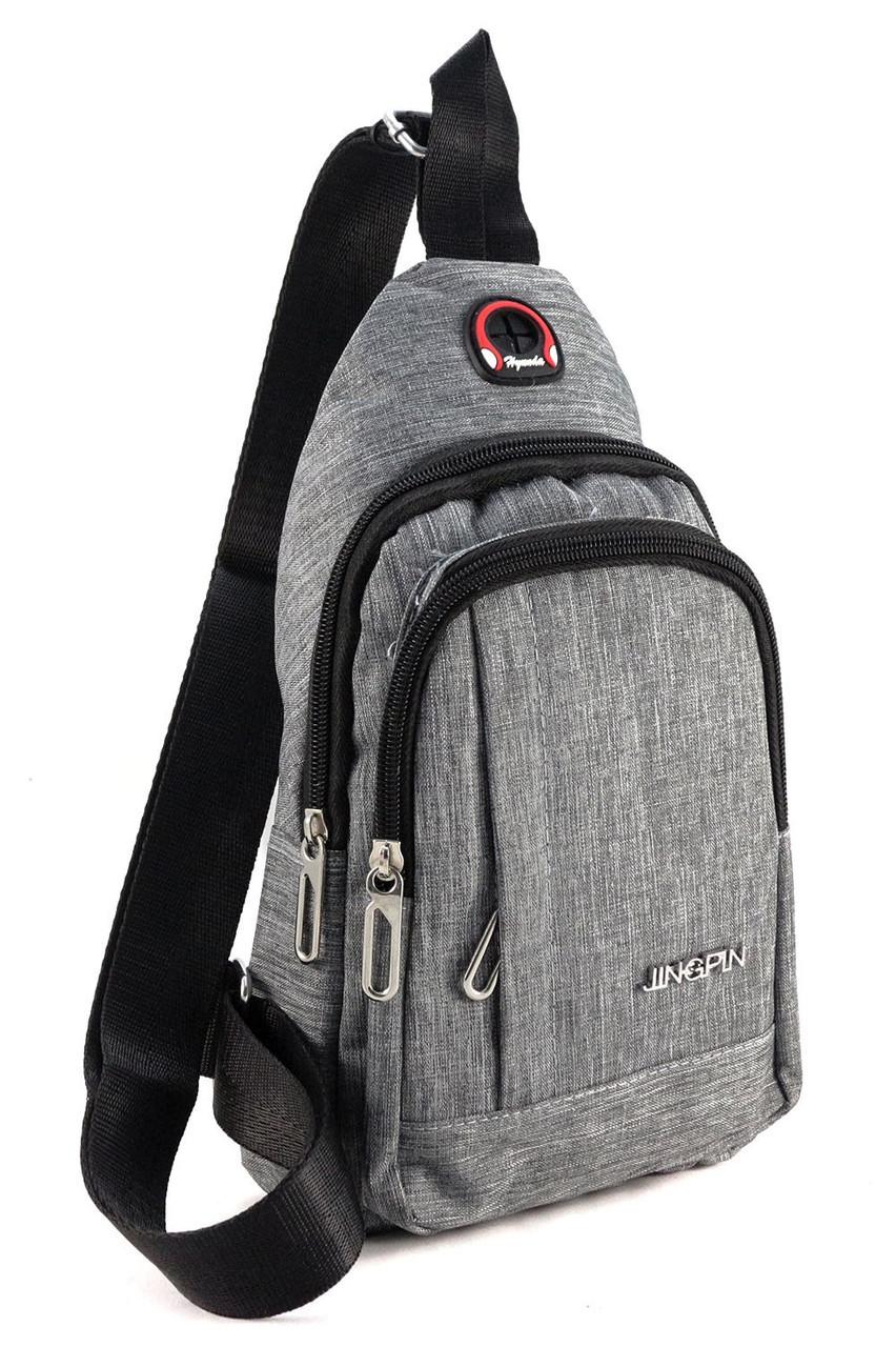 8ca4d7e4864e Мужская сумка слинг с отверстием для наушников 1728 gray - 24/7 UA - Товары