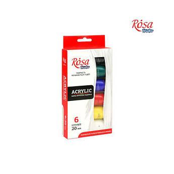 Набор акриловых красок 6x20мл, ROSA Studio