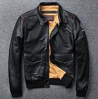 Чоловіча шкіряна куртка M чорна. (01350), фото 1