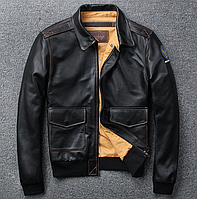 Мужская кожаная куртка M черная. (01350), фото 1