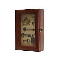 """Ключница  настенная, деревянная """" Ключи под стеклом """" 25*17*6.5 см (60305 E)"""