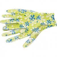 Перчатки садовые из полиэстера с нитрильным обливом зеленые S Palisad 677418