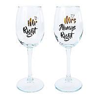 "Набор винных бокалов ""MR+MRS"" (380 мл), фото 1"