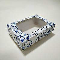 Коробочка для подарков с голубыми цветами и окном 130х90х35 мм.