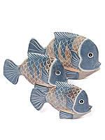 Рыба синяя 24 см. дерево Индонезия