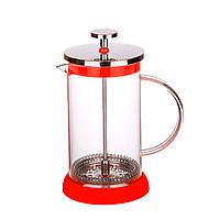 Френч-прес для чаю і кави 800 мл. з силіконовою підставкою, червоний колір, фото 1