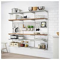 IKEA KUNGSFORS Кухонный стеллаж, нержавеющая сталь, ясень  (292.543.41)