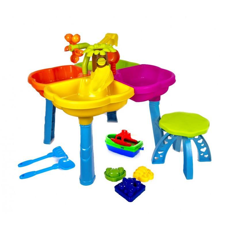 Столик песочный с лодочкой, стульчиком и пасками 01-122