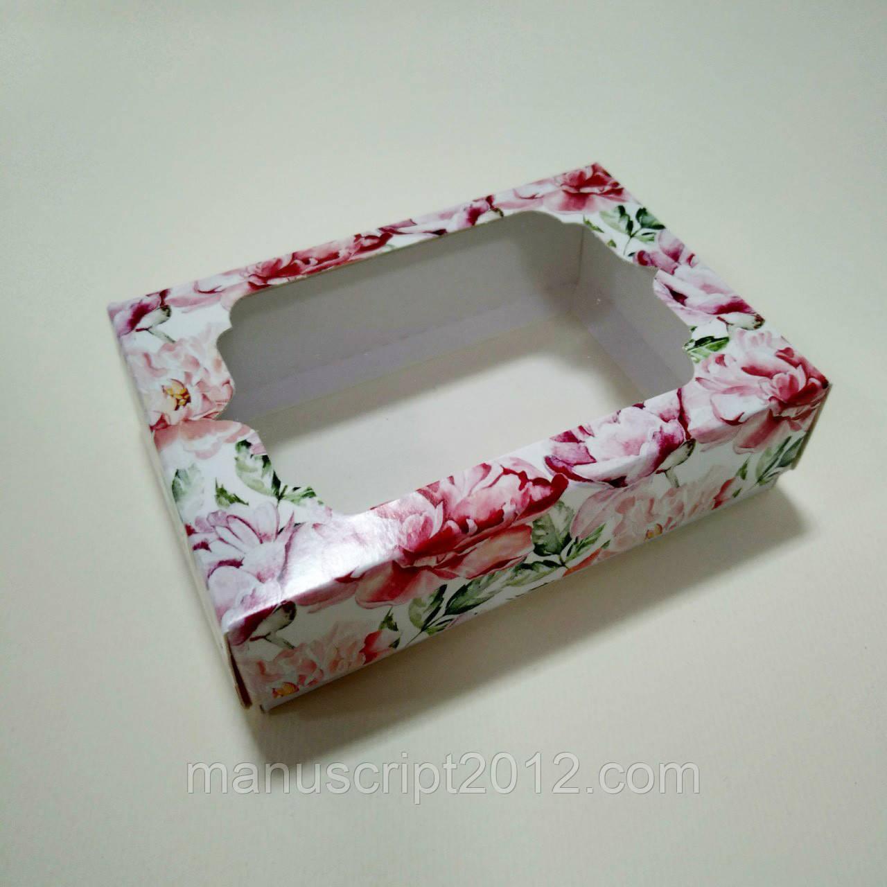 Коробочка для подарков с пионами 130х90х35 мм.