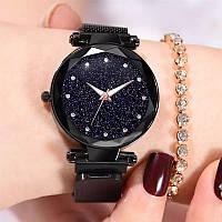 Женские часы на магнитной застежке Starry Sky черные, жіночий годинник, наручные часы Звездное небо на магните