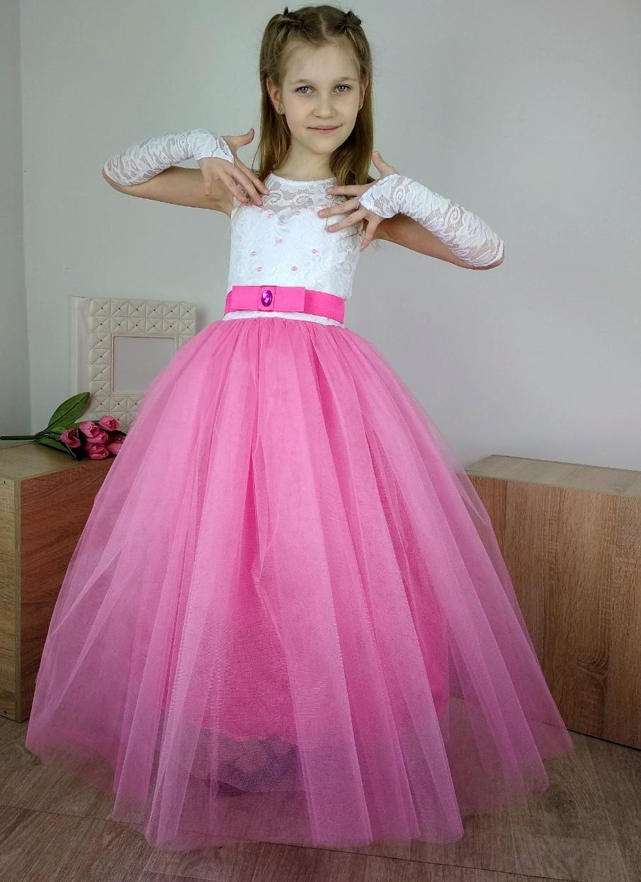 ac7d0936443 Выпускное бальное платье с розовой юбкой для девочки 6-10 лет - Puziki.com