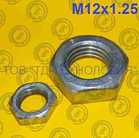 Гайка шестигранна низька з дрібним кроком різьби ГОСТ 5916, DIN 934/936 М12х1.25, фото 1