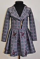Детский костюм для девочки пиджак и юбка в клетку 122 размер