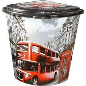 Корзина УГЛОВАЯ д/белья с рисунком Лондон Автобус ELIF