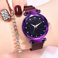 Женские часы на магнитной застежке Starry Sky фиолетовые, жіночий годинник, часы Звездное небо на магните