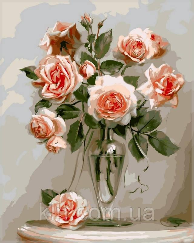 Картина по номерам Babylon Кораловые розы VP326 40 х 50 см