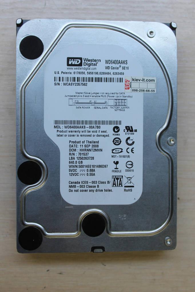 """Жесткий диск Western Digital WD6400AAKS 640GB 3.5"""" Б\У"""