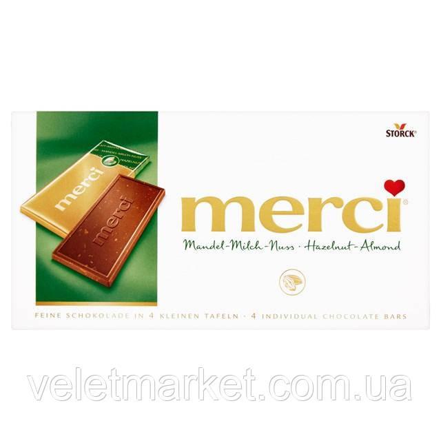 Шоколад Storck Merci с лесным орехом и миндалем 100 г