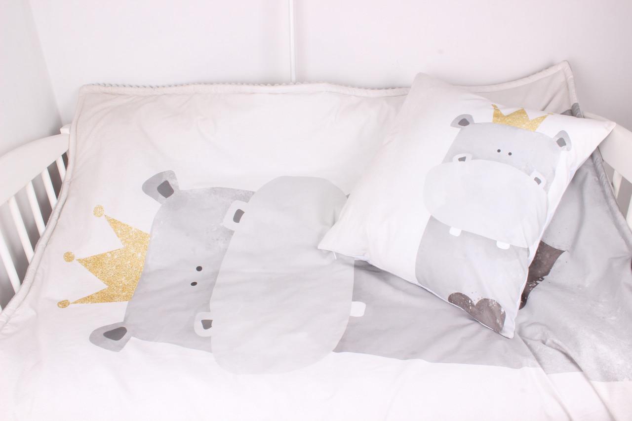 Детское увеличенное  одеяло с панелькой Бегемотик