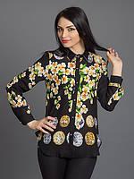 Рубашка женская с кожаными воротником рубашка летняя из шифона