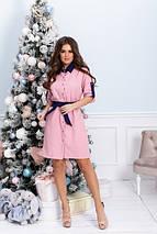 """Короткое приталенное платье-рубашка """"NORA"""" с поясом (большие размеры), фото 2"""