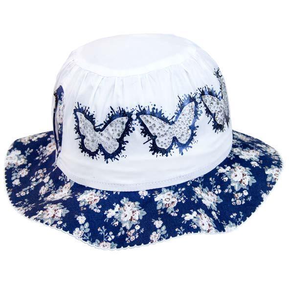 Панамка для девочек с синим цветочным полем и бабочками