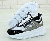 Кроссовки женские Versace Chain Reaction Sneakers реплика ААА+ (нат. замша) р. 36-41 серый (живые фото), фото 1