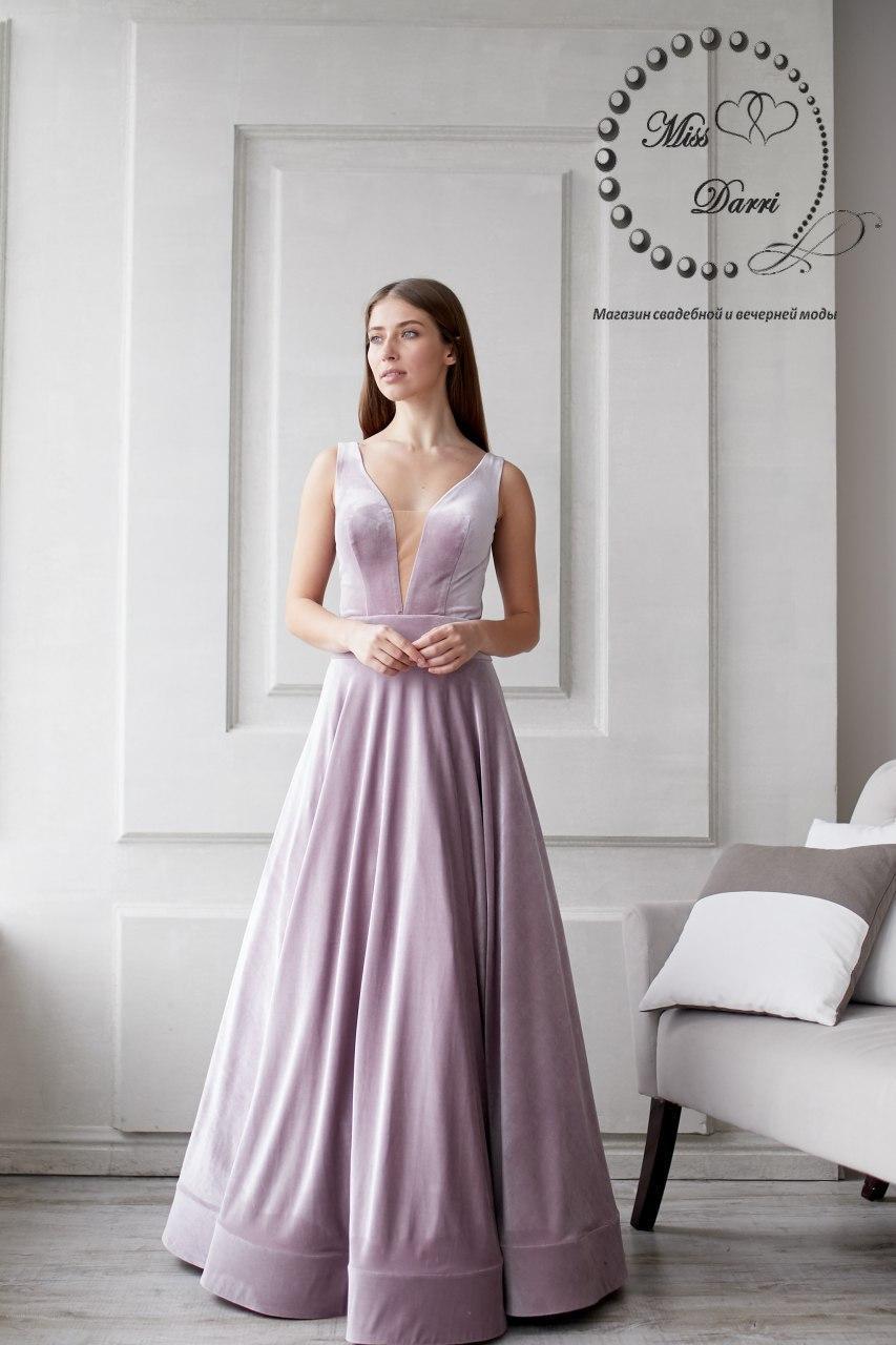 Вечернее платье/выпускное платье из бархата лиловое, фото 1