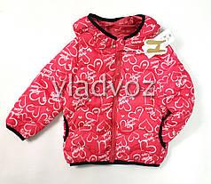 Демисезонная куртка для девочки красная сердечки 3-4 года